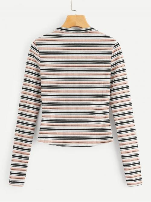 Pretty Long Sleeve Top Button Polyester Colorful Ribbed Tee