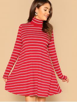 Casual Striped High Neck Long Sleeve Red Midi Length High Neck Striped Swing Dress