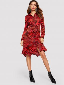 Elegant Shirt Zebra Stripe Loose Collar Long Sleeve Natural Red Long Length Animal Print Drawstring Waist Shirt Dress