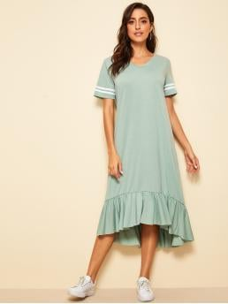 Casual Tunic Striped Loose V neck Short Sleeve Natural Green Midi Length Striped Sleeve Ruffle Hem Dress