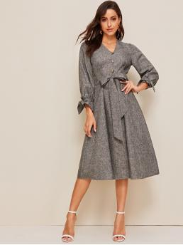 Elegant A Line Plain Flared Regular Fit V neck Long Sleeve High Waist Grey Long Length Button Front Knot Cuff Self Belted Dress with Belt