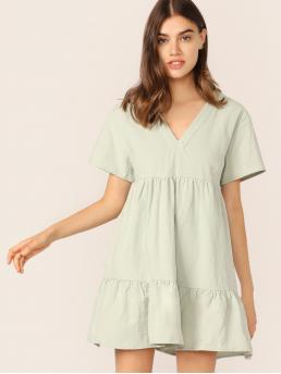 Cute Smock Plain Flounce Loose V neck Short Sleeve Regular Sleeve High Waist Green and Pastel Mini Length V-neck Ruffle Hem Babydoll Dress