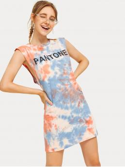 Sporty Tunic Letter and Tie Dye Round Neck Sleeveless High Waist Multicolor Short Length Tie Dye Letter Print Dress