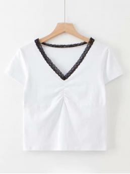 Casual Regular Fit V neck Short Sleeve Pullovers White Crop Length Contrast Lace Ruched Tee