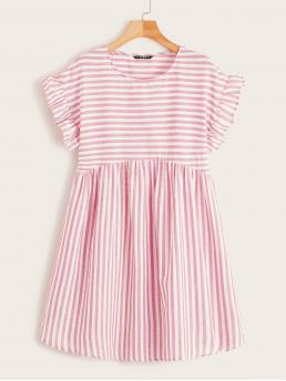 Cute Smock Striped Flared Loose Round Neck Cap Sleeve Flounce Sleeve High Waist Pink and Pastel Short Length Striped Ruffle Trim Smock Dress