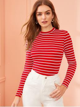 Casual Striped Slim Fit Round Neck Long Sleeve Regular Sleeve Pullovers Red Regular Length Round Neck Striped Fitted Tee