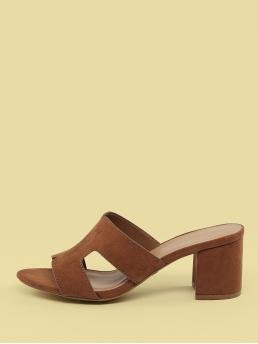 Business Casual Open Toe Plain Brown Mid Heel Chunky H Cut Out Low Chunky Heel Mule Sandals