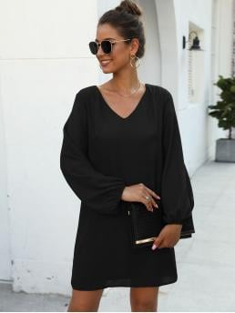Casual Tunic Plain Straight Loose V neck Long Sleeve Bishop Sleeve Black Short Length Solid V-neck Tunic Dress with Lining