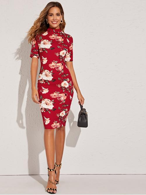 Elegant Bodycon Floral and All Over Print Pencil Slim Fit Stand Collar Short Sleeve Regular Sleeve Natural Red and Bright Midi Length Mock Neck Floral Print Pencil Dress