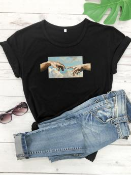 Casual Figure and Graphic Regular Fit Round Neck Short Sleeve Pullovers Black Regular Length Finger And Sky Print Tee