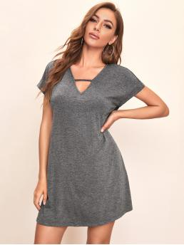 Casual Tee Plain Straight Regular Fit Keyhole Neckline Short Sleeve Natural Grey Short Length Keyhole Neck Batwing Sleeve Tee Dress