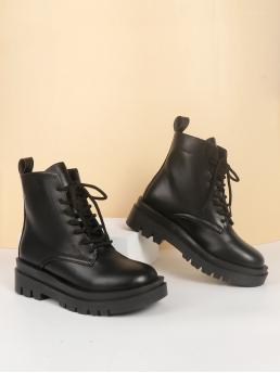 Black Combat Boots Mid Heel Chunky Minimalist Lace up Front Combat Boots Beautiful