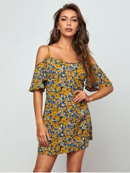 Multicolor all over Print Ruffle Cold Shoulder Floral Dress on Sale
