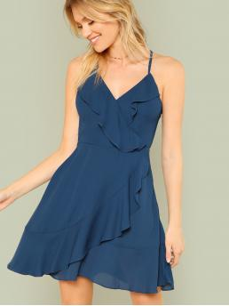 Casual Cami Plain Wrap V neck and Spaghetti Strap Sleeveless Natural Blue Short Length Ruffle Detail Wrap Cami Dress