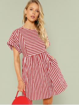 Casual A Line Striped Flared Shift Round Neck Short Sleeve Roll Up Sleeve High Waist Red Short Length Mixed Stripe Slit Back Smock Dress