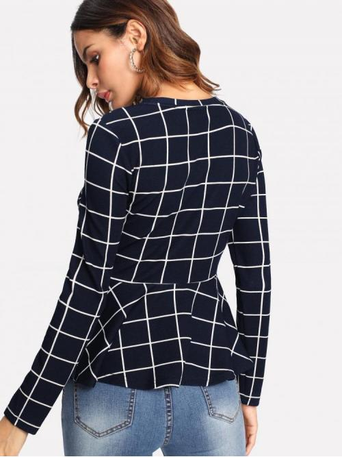Long Sleeve Peplum Ruffle Polyester Grid Top Clearance