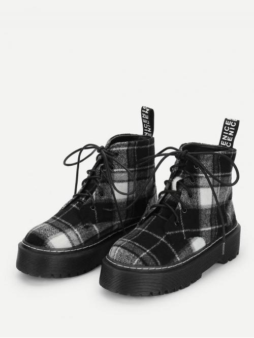 Womens Polyester Black and White Combat Boots Belted Boots