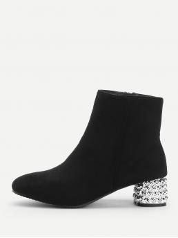 Tweed Black Cami Lace up Side Zip Boots Fashion