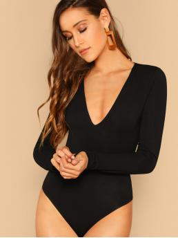 Sexy Tee Plain Skinny Deep V Neck Long Sleeve Mid Waist Black Plunging Neck Form Fitted Bodysuit