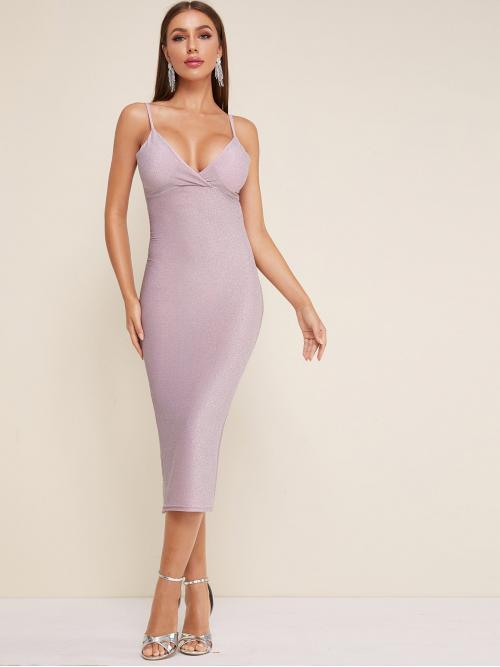 Glamorous Cami Plain Slim Fit Spaghetti Strap Sleeveless High Waist Purple Long Length Glitter Gathered Bust Bodycon Cami Dress with Chest pad
