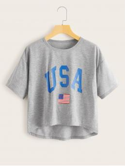 Casual Letter and Flag Regular Fit Round Neck Short Sleeve Regular Sleeve Pullovers Grey Regular Length Red White And Blue Print Curved Hem Tee