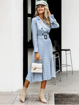 Elegant A Line Plaid Pleated Regular Fit Lapel Long Sleeve Regular Sleeve High Waist Blue and Pastel Long Length Simplee Plaid Double Button Pleated Hem Buckle Belt Dress with Belt
