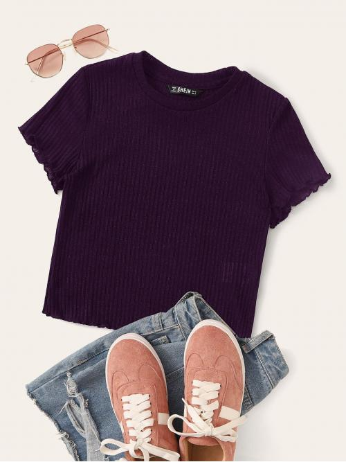 Casual Plain Slim Fit Round Neck Cap Sleeve Pullovers Purple Regular Length Lettuce Trim Rib-knit Tee