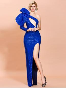 Glamorous and Sexy Bodycon Plain Slit Slim Fit One Shoulder Long Sleeve Regular Sleeve Natural Blue and Bright Maxi Length Missord Exaggerated Bow Cut-out Split Thigh Sequin Prom Dress with Lining