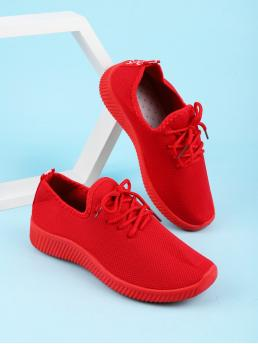 Red Running Shoes Lace up Low-top Decor Knit Sneakers on Sale