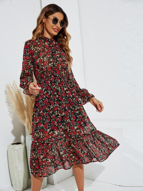 Multicolor all over Print Ruffle Hem Stand Collar Allover Dress Beautiful