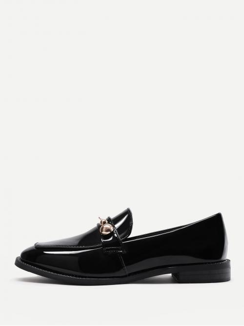 Women's Corduroy Black Loafers Embroidery Metal Detail Loafer Dress Shoes