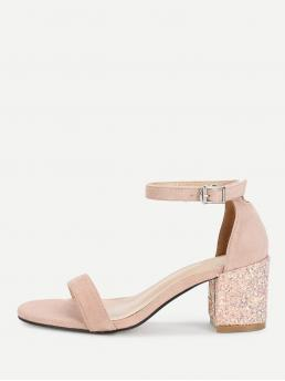 Business Casual Open Toe Ankle Strap Pink Mid Heel Chunky Glitter Heeled Two Part Sandals