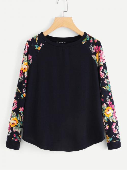 Beautiful Long Sleeve Top Asymmetrical Polyester Curved Hem Top