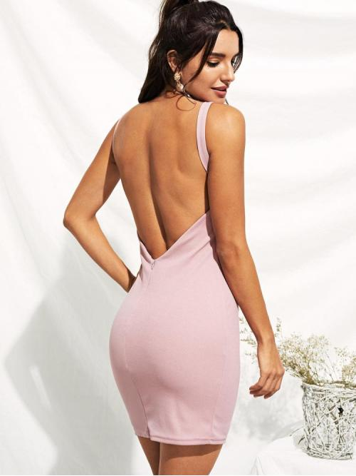 Womens Pink Plain Backless Spaghetti Strap Open Back Solid Form Fitting Dress