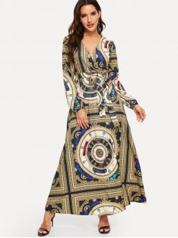 Multicolor Floral Belted V Neck Scarf Print Surplice Neck Self Dress Sale