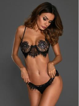 Sexy Sets Plain Thongs & V-Strings Underwire Black Floral Lace Cut-out Lingerie Set