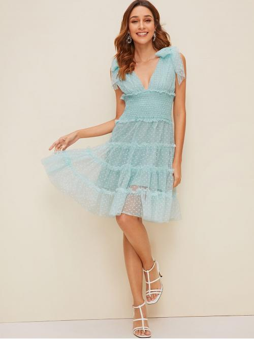 Romantic A Line Plain Layered/Tiered Regular Fit Deep V Neck Sleeveless High Waist Blue and Pastel Short Length Knot Shoulder Plunging Neck Mesh Overlay Dress with Lining