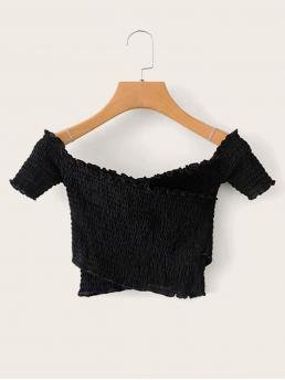 Casual Plain Slim Fit Off the Shoulder Short Sleeve Pullovers Black Crop Length Cross Over Shirred Frill Tee