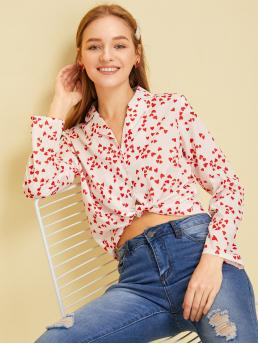 Casual Heart Top Regular Fit Notched Long Sleeve Pullovers White Crop Length Heart Print Knot Hem Blouse