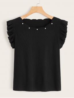 Elegant Plain Regular Fit Round Neck Sleeveless Half Placket Black Regular Length Scallop Neck Pearls Detail Ruffle Armhole Top