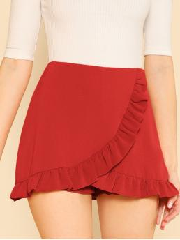 Boho Plain Culottes Regular Zipper Fly Mid Waist Red Solid Ruffle Hem Wrap Skort