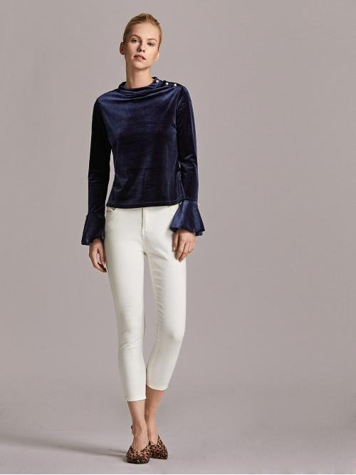 Long Sleeve Fit and Flare Pearls Velvet Detail Top on Sale