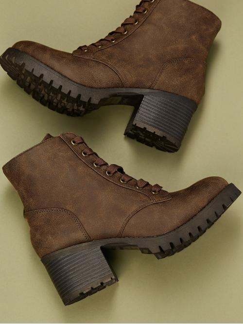 Business Casual Lace-up Boots Plain Side zipper Brown Mid Heel Chunky Almond Toe Lace Up Track Sole Ankle Booties