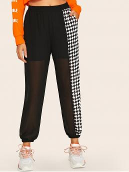 Casual Plaid and Colorblock Sweatpant Regular Elastic Waist Mid Waist Black Cropped Length Contrast Panel Checker Print Chiffon Pants with Lining