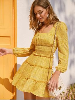 Boho A Line Ditsy Floral Flounce Regular Fit Square Neck Long Sleeve Bishop Sleeve High Waist Yellow and Bright Short Length Shirred Waist Frilled Layered Ditsy Floral Dress