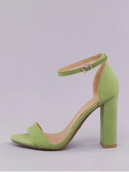 Glamorous Plain Green Mid Heel Chunky Almond Sole Open Toe Chunky Heel Sandals