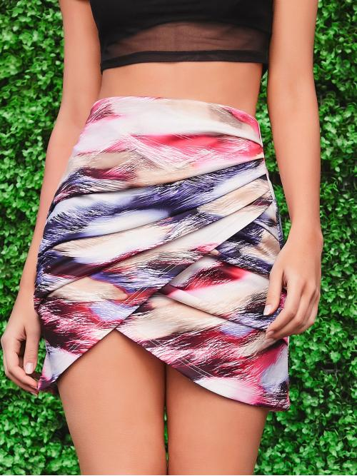 Elegant Asymmetrical All Over Print High Waist Multicolor Mini Length Asymmetrical Hem Allover Print Skirt Without Belt