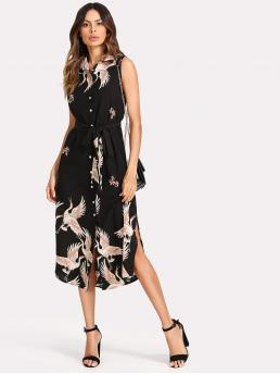 Elegant Shirt Floral and Animal Straight Loose Collar Sleeveless Natural Black Long Length Crane Print Button Up Curved Hem Dress with Belt