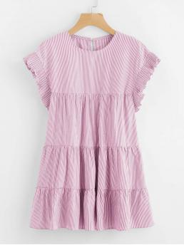 Womens Baby Pink Striped Ruffle Hem Round Neck Vertical-tiered Peasant Frill Dress