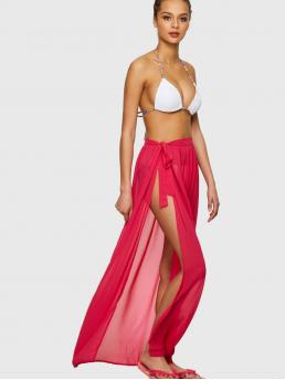Clearance Rose Red Natural Waist Zipper Pencil Neon Pink Slit Side Semi Sheer Knot Cover up